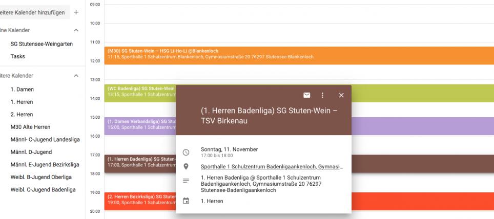 Eigenen SGSW-Kalender zusammenstellen
